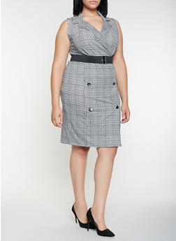 Plus Size Belted Plaid Blazer Dress - 3930015994300