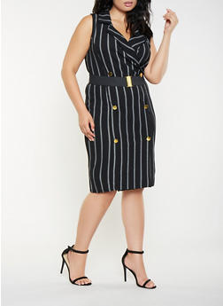 Plus Size Striped Blazer Dress - 3930015994301