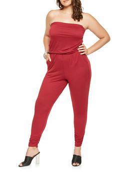 Plus Size Strapless Jumpsuit - 3930015995016