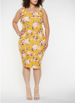 Plus Size Floral Bodycon Dress - 3930015995094