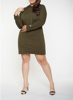 Plus Size Hooded Sweatshirt Dress - 3930015995117