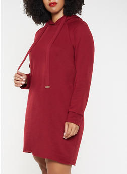 Plus Size Hooded Sweatshirt Dress - 3930015995117