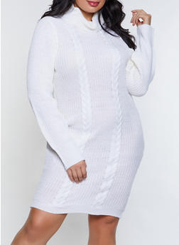 Plus Size Turtleneck Sweater Dress - 3930015996332