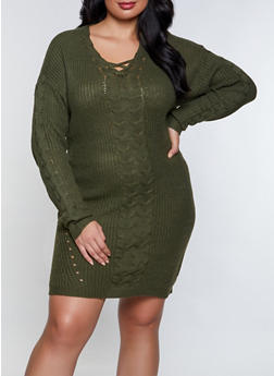 Plus Size Lace Up Sweater Dress - 3930015996401