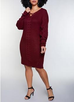 Plus Size Lace Up Sweater Dress - 3930015996401