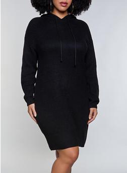Plus Size Hooded Sweater Dress - 3930015996640