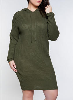 Plus Size Hooded Sweater Dress - 3930015996640