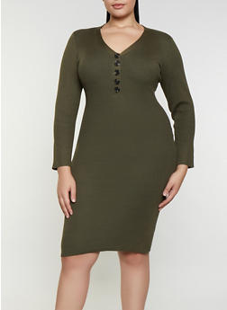 Plus Size Half Button Sweater Dress - 3930015996760