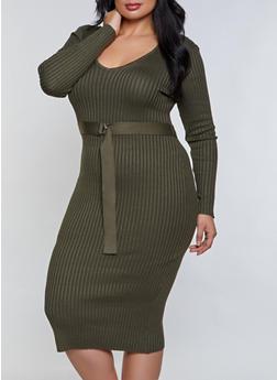 Plus Size V Neck Tie Waist Sweater Dress - 3930015996770