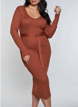 Plus Size V Neck Tie Waist Sweater Dress - 3930015996770