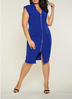 Plus Size O Ring Zip Front Bodycon Dress - 3930015996908