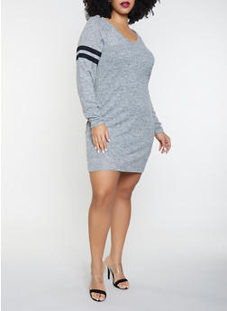 Plus Size Varsity Stripe Sweater Dress - 3930015997281