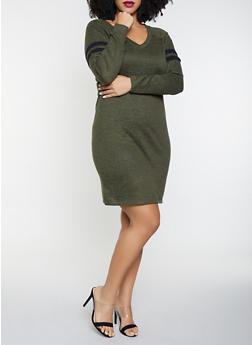 Plus Size Varsity Stripe Sweater Dress - 3930015997281