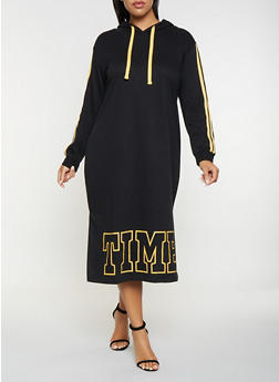 Plus Size Graphic Sweatshirt Dress - 3930015997366