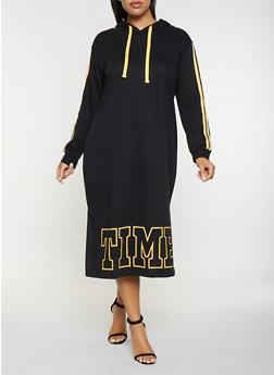 Plus Size Graphic Sweatshirt Dress - 3930015997366