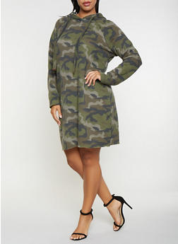Plus Size Camo Sweatshirt Dress - 3930015997397
