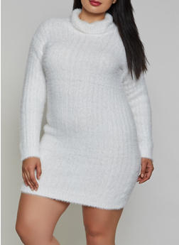Plus Size Eyelash Knit Turtleneck Sweater Dress - 3930015997400