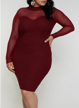 Plus Size Mesh Yoke Ribbed Knit Dress - 3930015997840