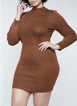 Plus Size Striped Rib Knit Sweater Dress - 3930015997880