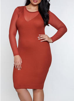 Plus Size Ribbed Mesh Sleeve Sweater Dress - 3930015997910