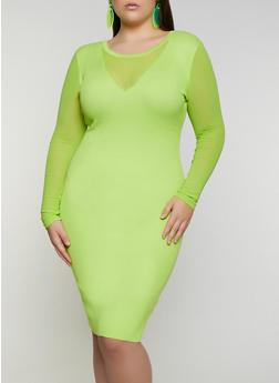 Plus Size Ribbed Mesh Sleeve Sweater Dress - 3930015997910