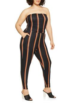 Plus Size Striped Tube Jumpsuit - 3930015998001