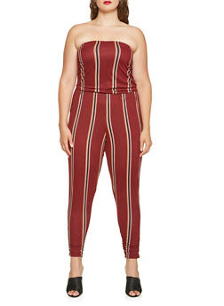 Plus Size Striped Tube Jumpsuit - 3930015998001