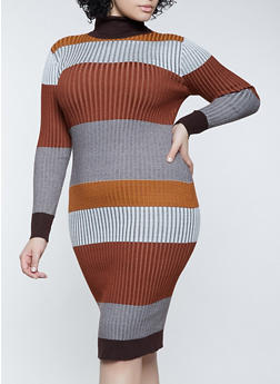 Plus Size Color Block Turtleneck Sweater Dress - 3930015998280