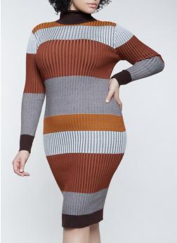 Plus Size Color Block Turtleneck Sweater - 3930015998280
