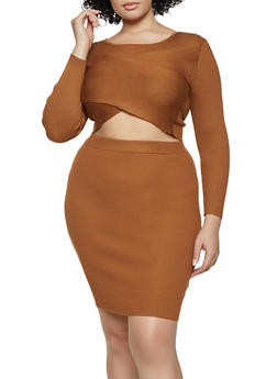 Plus Size Ribbed Crop Top and Skirt - 3930015998310