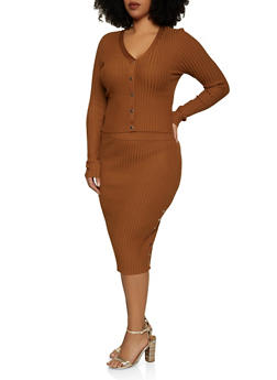 Plus Size Rib Knit Top and Pencil Skirt Set - 3930015998500