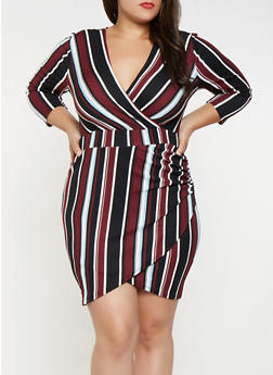 Plus Size Striped Faux Wrap Dress - 3930015998920