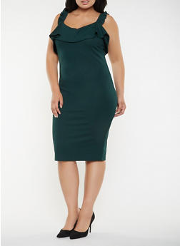 Plus Size Ruffled Bodycon Dress - 3930015999264