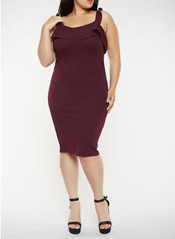 Plus Size Ruffled Bodycon Dress - 3930015999264