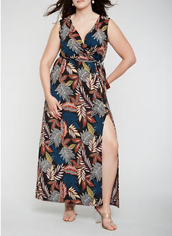 Plus Size Printed Faux Wrap Maxi Dress - 3930054211822