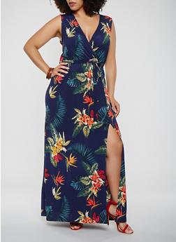 Plus Size Printed Faux Wrap Maxi Dress - 3930054211822
