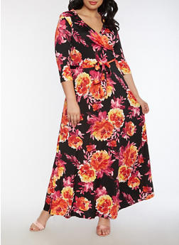 Plus Size Floral Faux Wrap Maxi Dress with Sleeves - BLACK - 3930054268915
