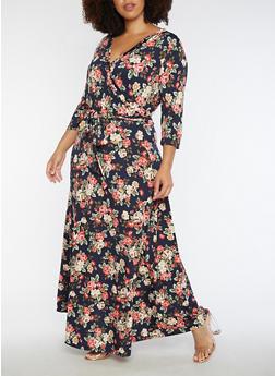 Plus Size Floral Faux Wrap Maxi Dress with Sleeves - INDIGO  NAVY U - 3930054268915