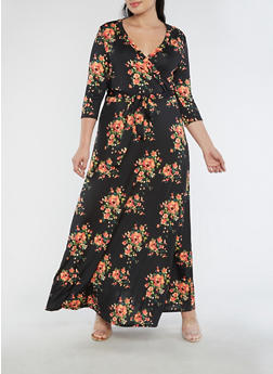 Plus Size Floral Faux Wrap Maxi Dress with Sleeves - CORAL - 3930054268915