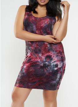 Plus Size Tie Dye Tank Dress - 3930061350478
