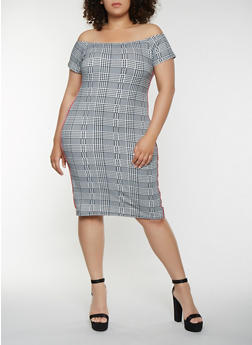 Plus Size Houndstooth Off the Shoulder Dress - 3930061351955