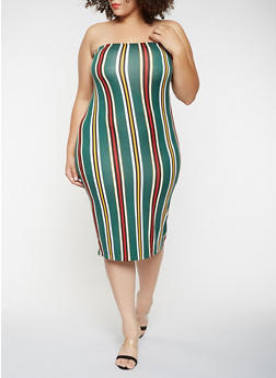 Plus Size Vertical Stripe Tube Dress - 3930061352819