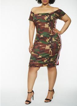 Plus Size Camo Off the Shoulder Dress - 3930061359195