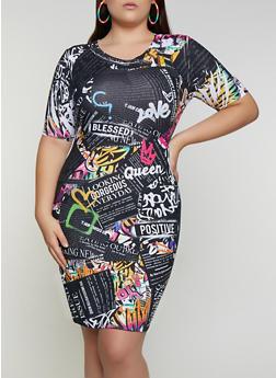 Plus Size Graffiti Newspaper Print T Shirt Dress - 3930061359250