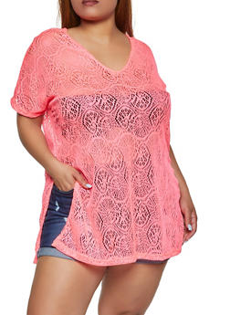 Plus Size Patterned Lace V Neck Top - 3930062120206