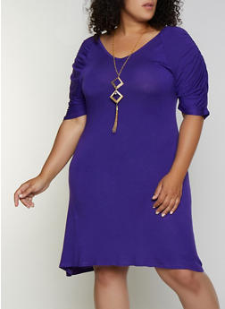 Plus Size Ruched Sleeve Shift Dress with Necklace - 3930062701201