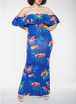 Plus Size Floral Off the Shoulder Maxi Dress - 3930062701205