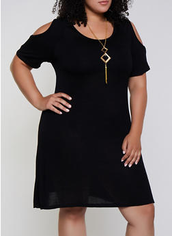 Plus Size Solid Cold Shoulder Dress with Necklace - 3930062701212