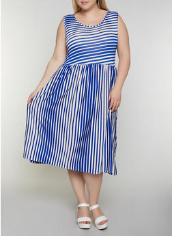Plus Size Sleeveless Striped Skater Dress - 3930062701521