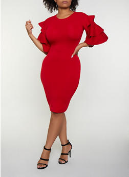 Plus Size Tiered Sleeve Sweater Dress - 3930062702700